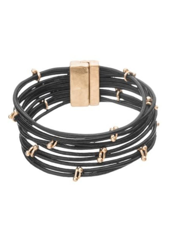 Black Multi Leather Band Bracelet