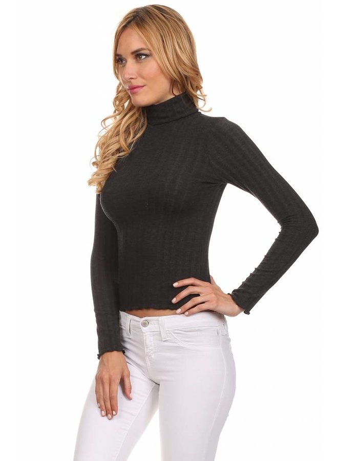 Charcoal Long Sleeve Cropped Turtleneck Top