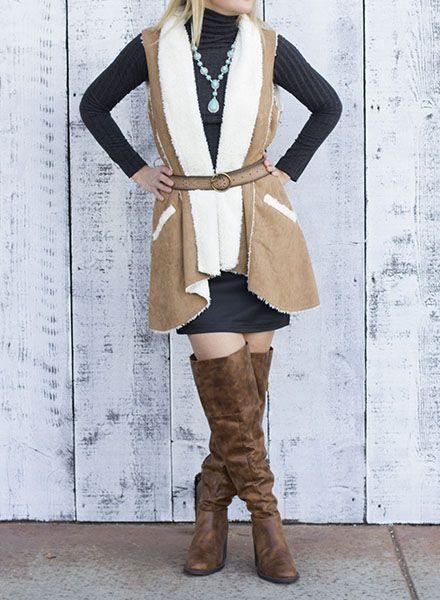 Shop the Look Camel Faux Suede Vest With Fur
