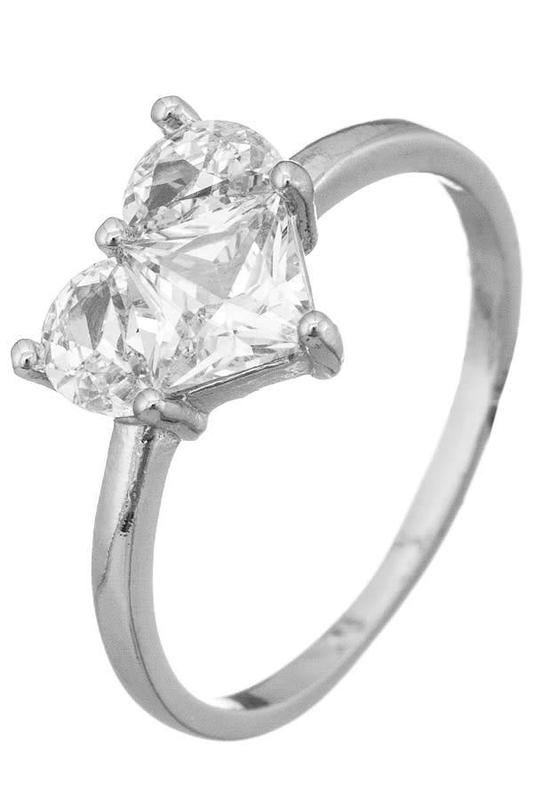 Girly Silver Heart Shaped CZ Ring. Size 7