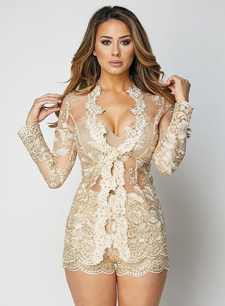 Gold 2 Piece Lace Floral Blazer Lingerie Set