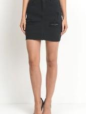 Black Distressed Denim Skirt