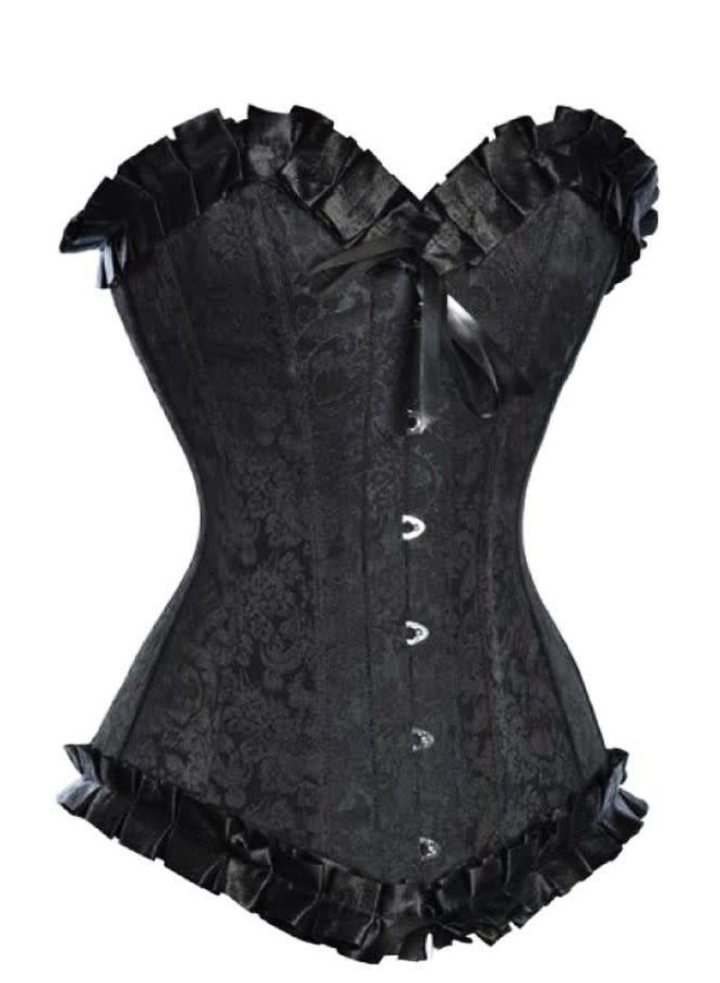 Black Brocade Longline Corset