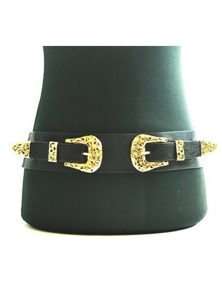 Filigree Cutout Double Buckle Stretch Belt