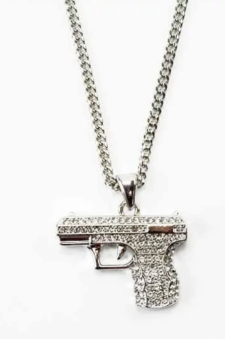 Crystal Gun Pendant Necklace