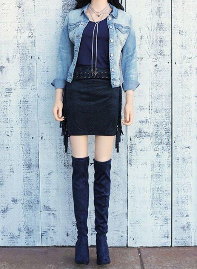 Navy Fringe Skirt
