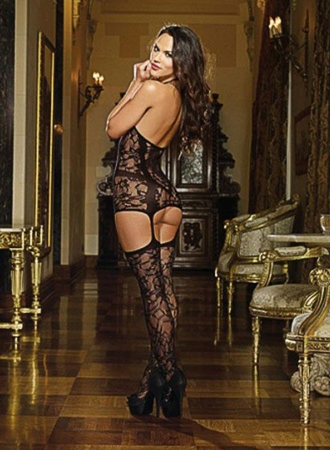 Black Lace Fishnet Halter Garter Dress Lingerie