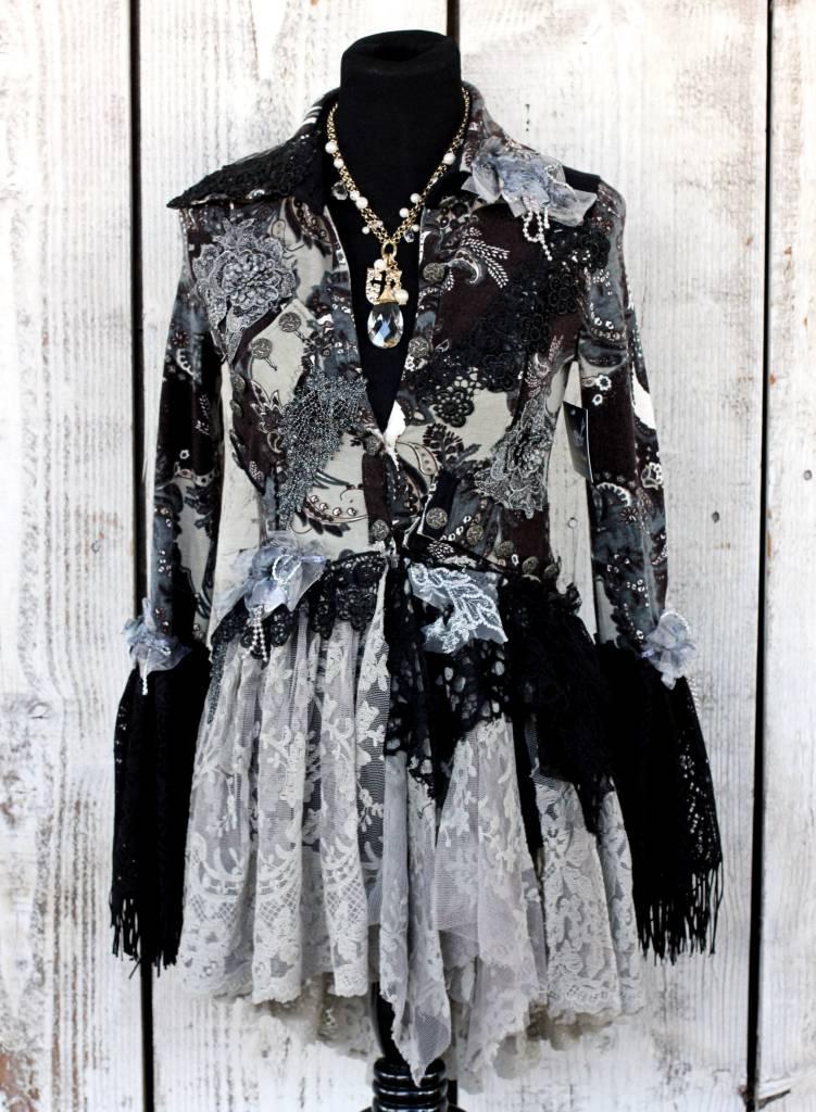 Handmade Blue Gothic Boho Fitted Jacket