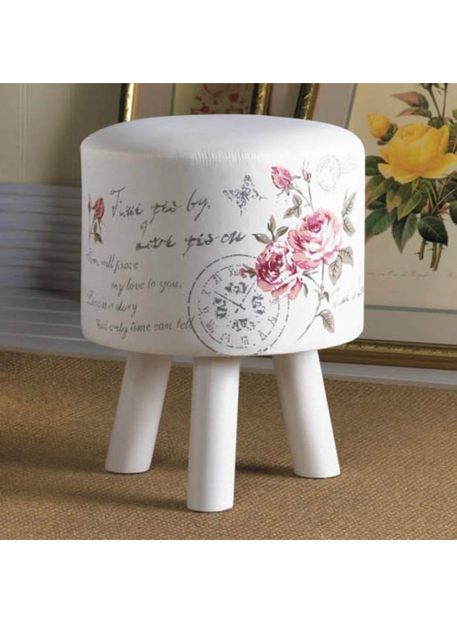 "Hand-Painted Floral Stool 12"" Diameter x 15"" Tall"