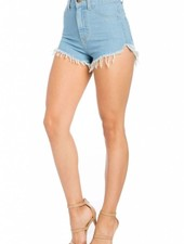 Light Blue High Rise Denim Shorts