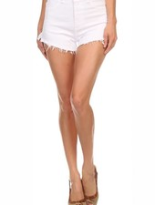 White High Rise Denim Shorts