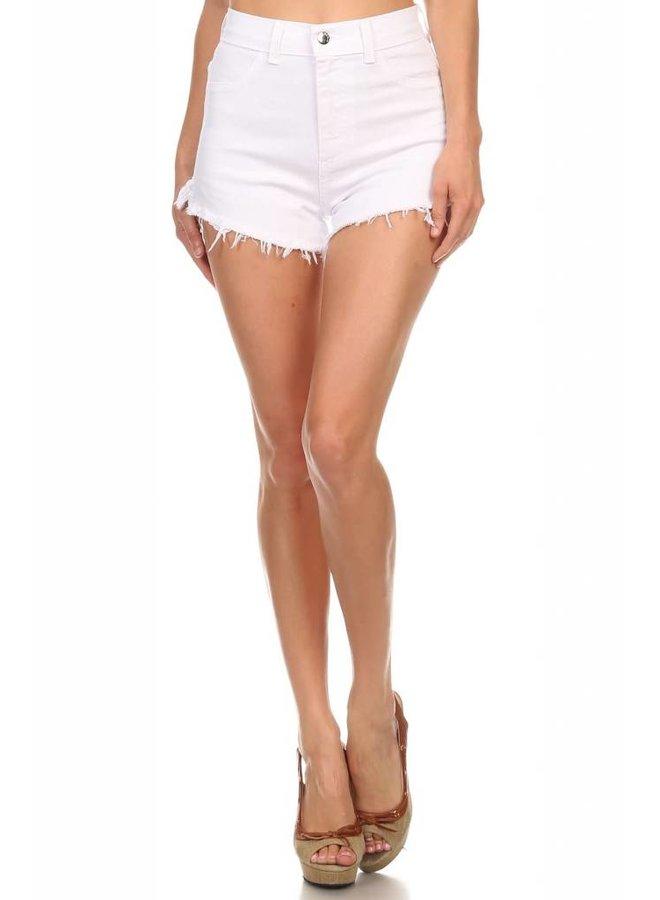 White High Rise Denim Shorts