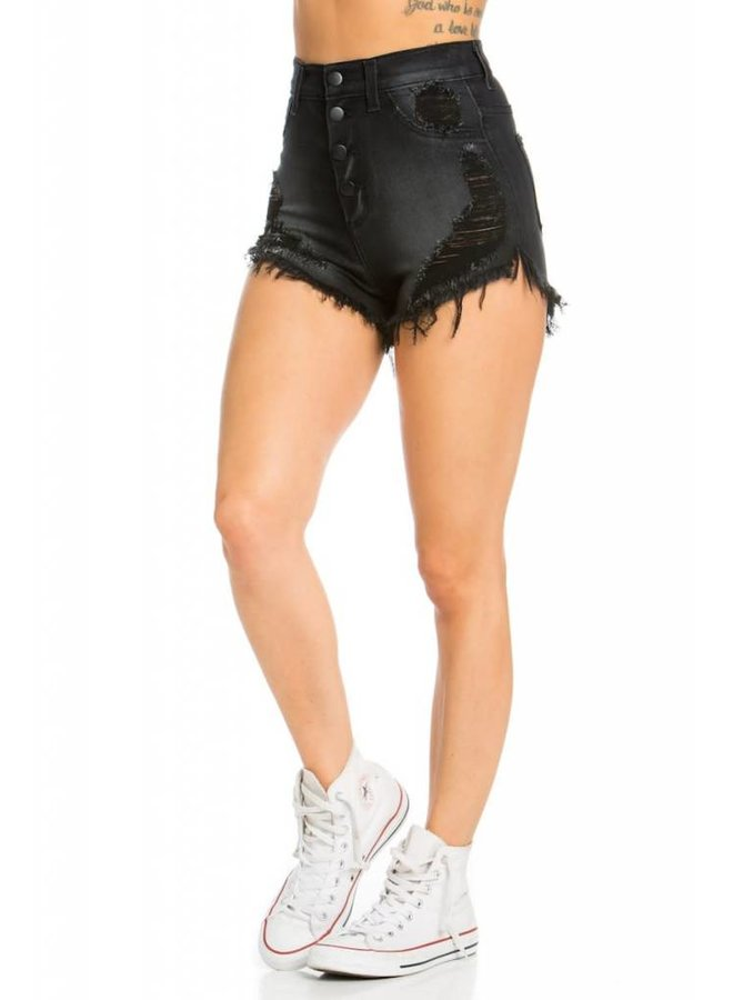 Black 4 Button Distressed High Rise Shorts