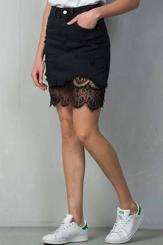 Black Lace Lined Denim Skirt