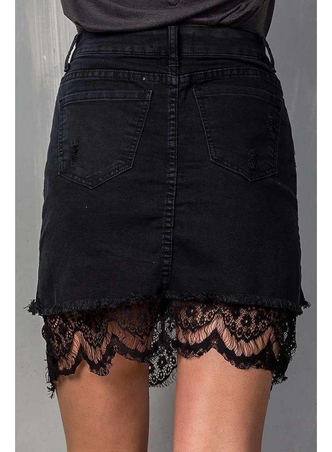 Black Lace Lined Denim Skirt