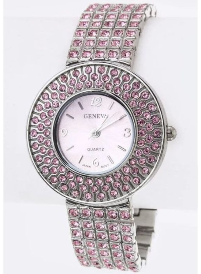 Pink Pave Crystals Bracelet Watch