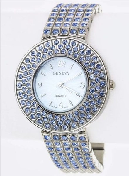 Blue Pave Crystals Bracelet Watch