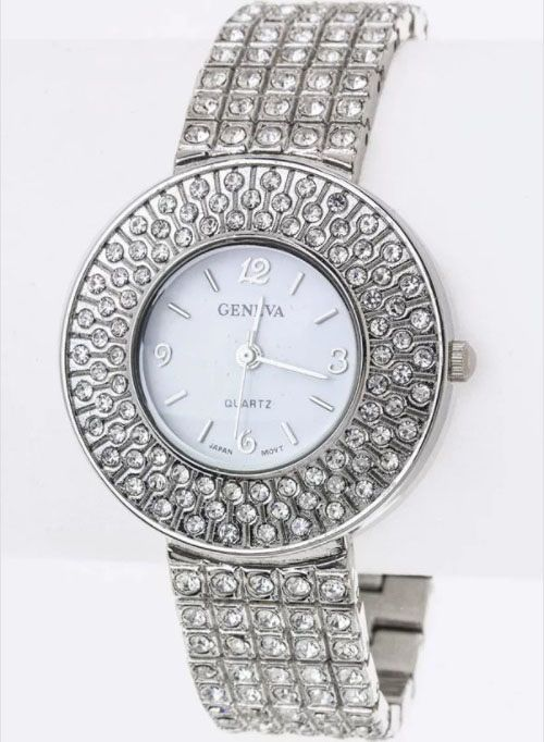 Clear Pave Crystals Bracelet Watch