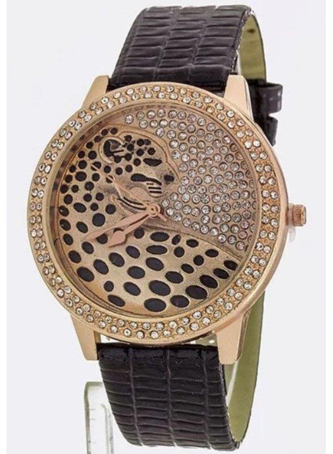 Black/Rose Gold Crystal Jaguar Watch