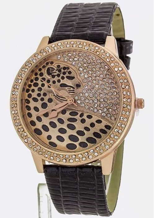 Black/Rose Gold Crystal Jaguar Watch