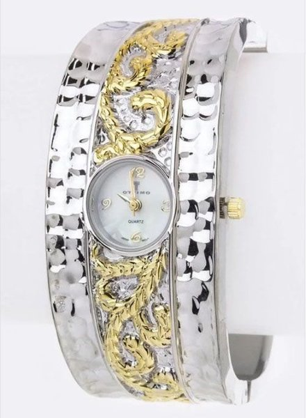 2 Tone Hammered Bangle Watch