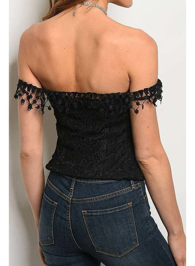 Black Button Down Lace Fitted Top
