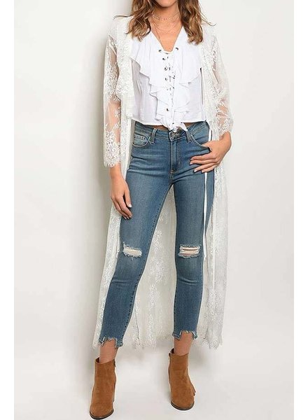 White Lace Duster with Ruffle Detail
