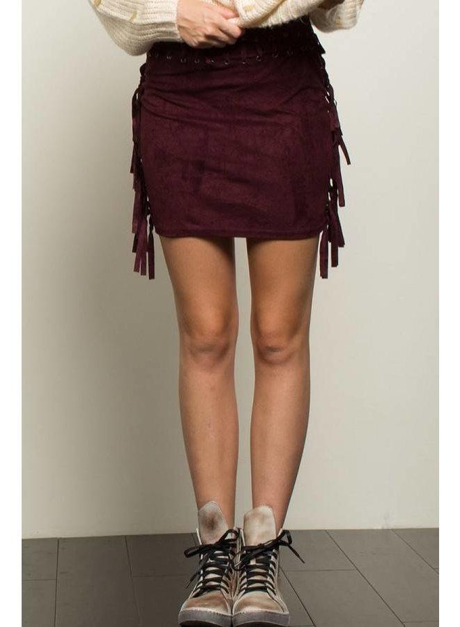 Burgundy Fringe Skirt