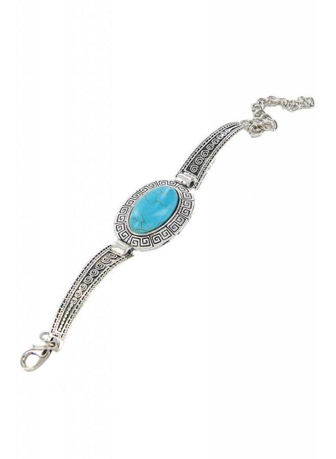 Silver Turquoise Gem Stone Bracelet