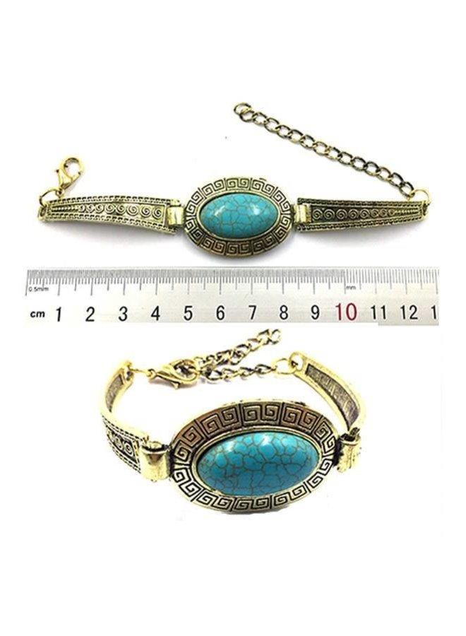 Gold Turquoise Gem Stone Bracelet