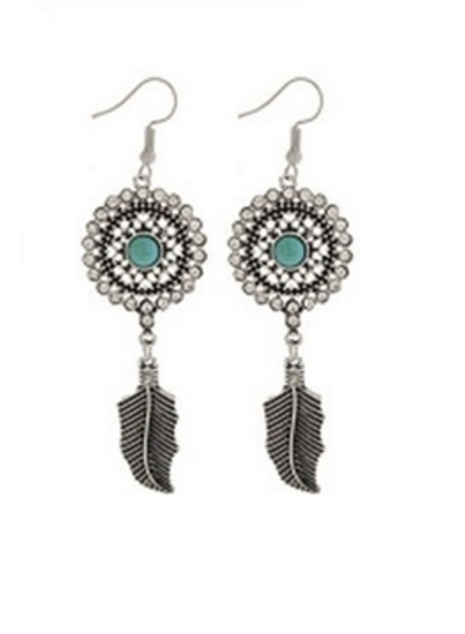 Tuquoise & Silver Bohemian Style Dangle Earring