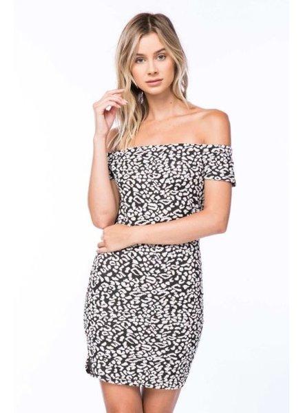 Cream & Black Off Shoulder Spotted Print Dress
