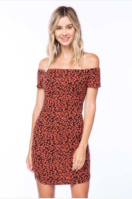 Rust & Black Off Shoulder Spotted Print Dress