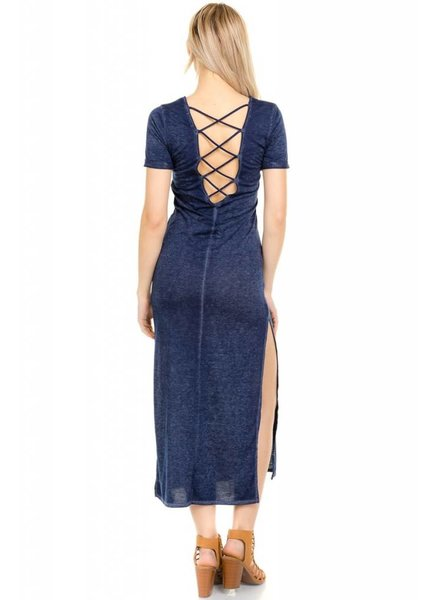 Navy Back Strap Maxi Dress