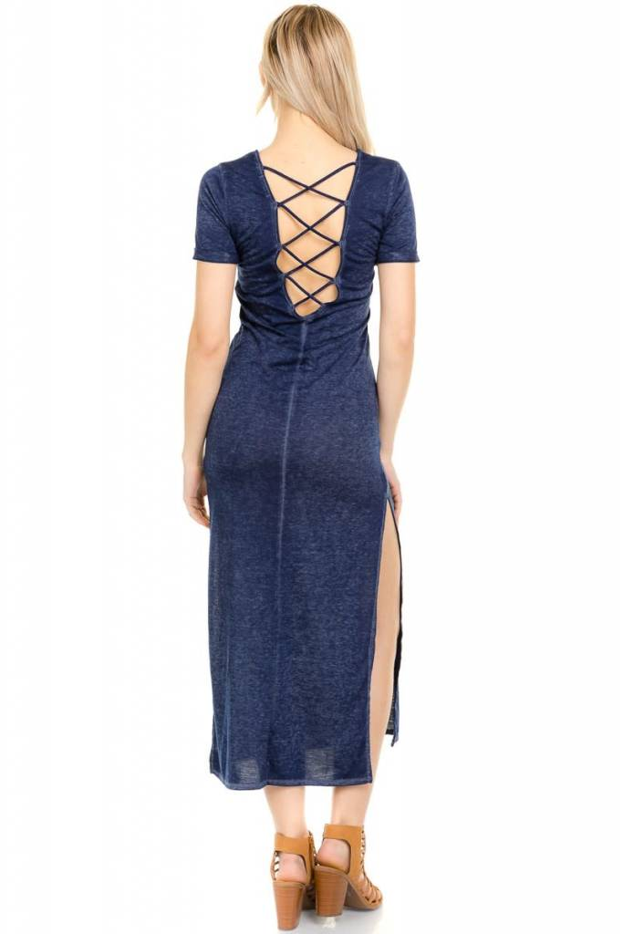 Navy Back Strap Maxi Dress