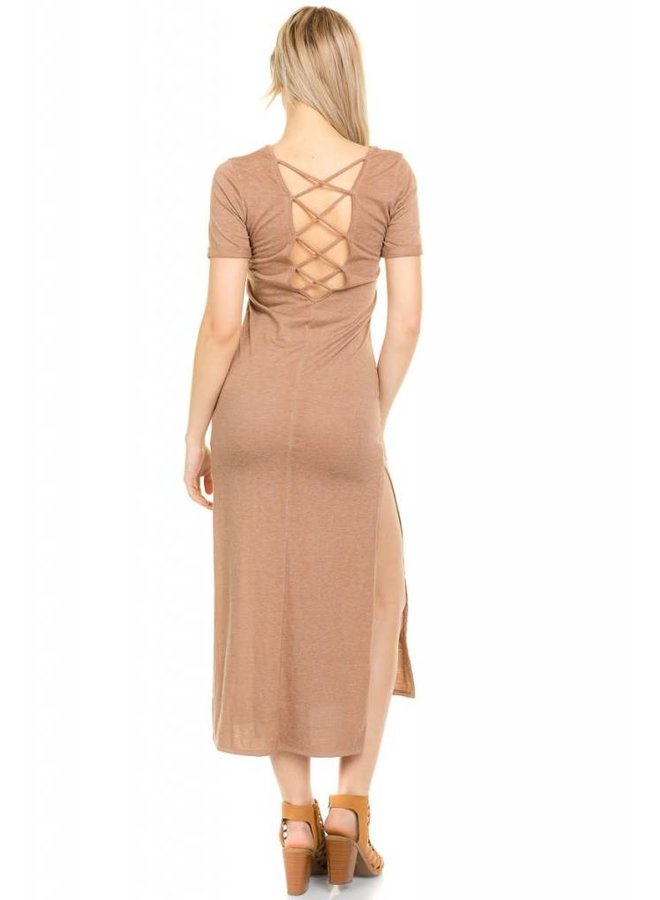 Taupe Back Strap Maxi Dress