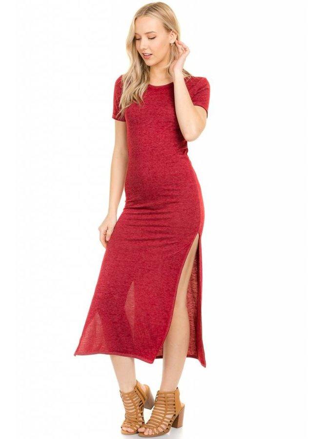 Burgundy Back Strap Maxi Dress