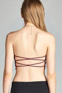 Strappy Back Lace Bandeau Bra