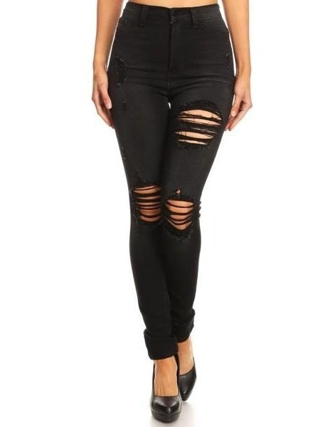 Black High Waist Destroyed Jean
