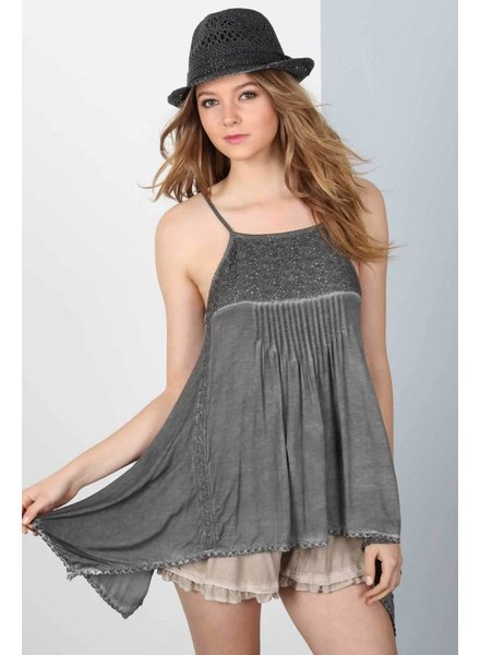 Charcoal Flyaway Sleeveless Top