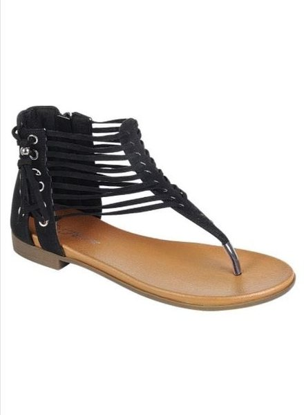 Black Side Detail Strappy Sandal