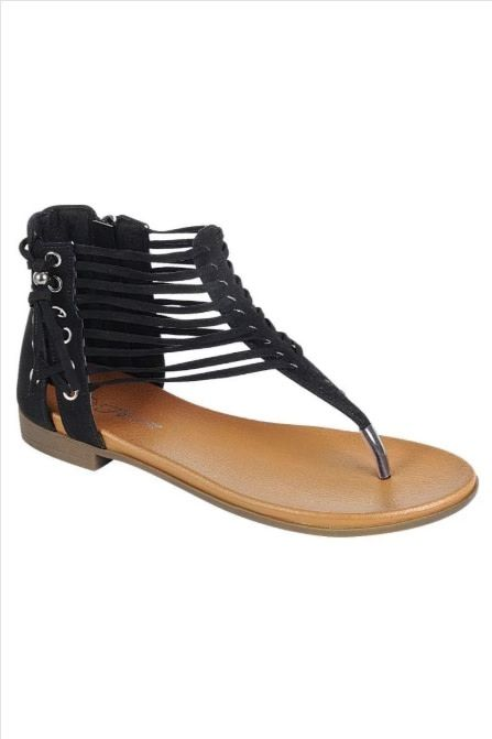 Black Side Detail Strappy Sandal