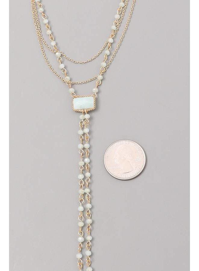 Mint Semi Precious Beaded Layered Necklace