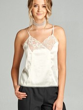 Lace Inset Satin Cami Top