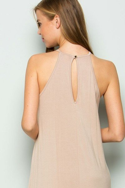 Taupe Knee Length Dress with Crochet Detail