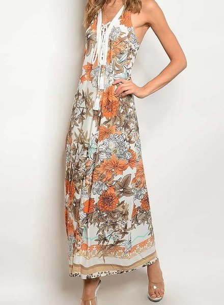 Ivory/Orange Floral V-Neck Lace Up Maxi Dress