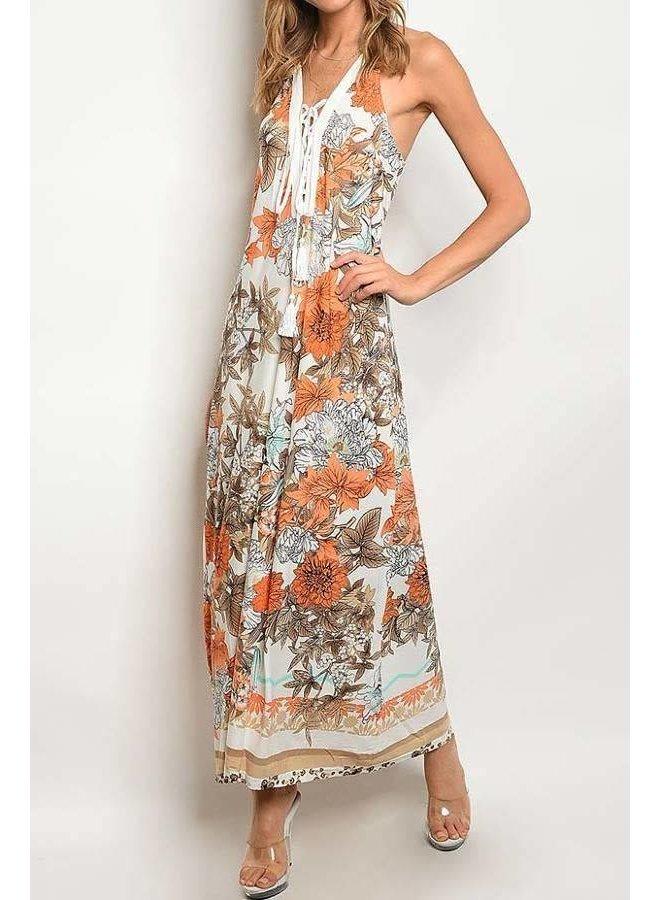 Ivory/Orange Floral V-Neck Lace Up Maxi Dress