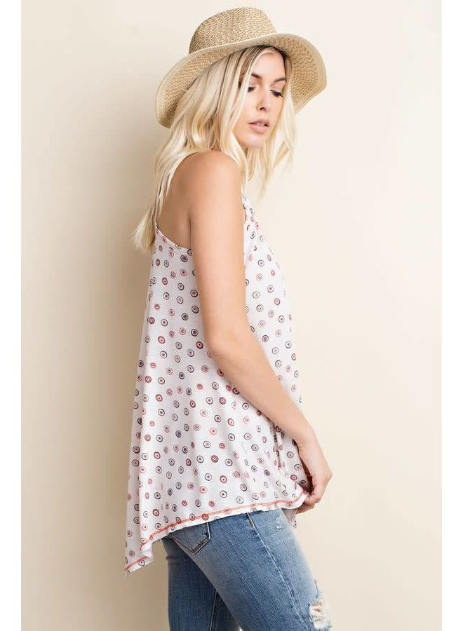 Natural Printed Knit Trapeze Top
