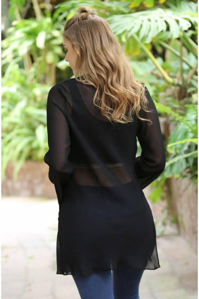 Long Sleeve Black Sheer Top
