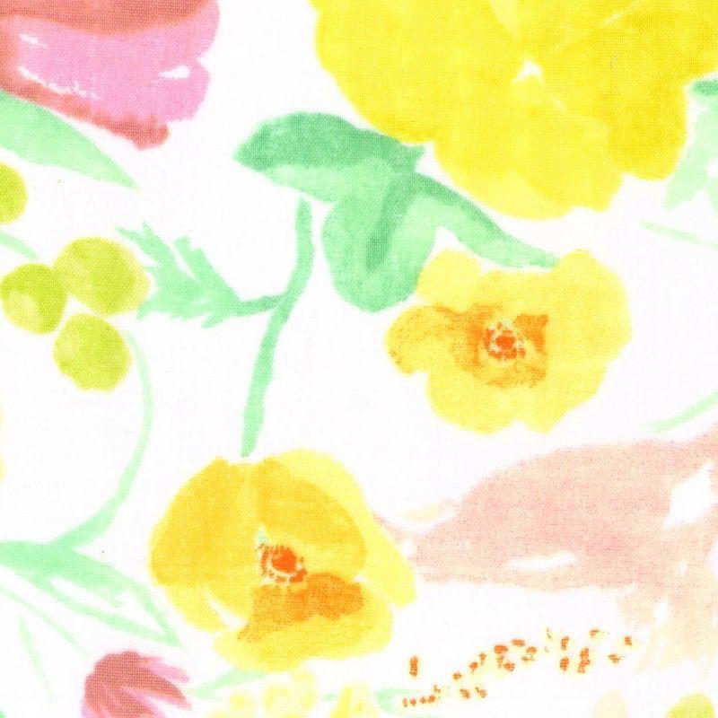 EE Schenck Nani Iro Double Gauze: Fuccra Rakuen Yellow/Pink 100% Cotton